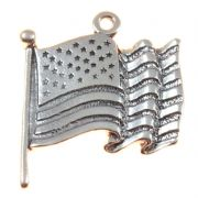 US American Flag 3D Sterling Silver Charm
